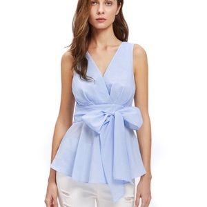 SHEIN V-neck Tie-waist Blue A-line Top